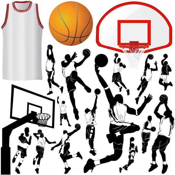 バスケットボールのシルエット basketball silhouette vector1