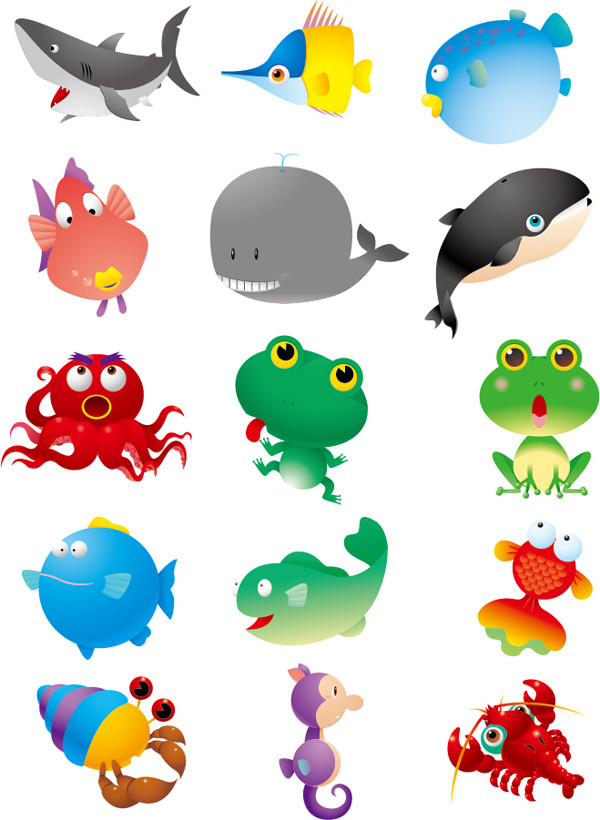 海の生物の漫画 cartoon marine animals vector