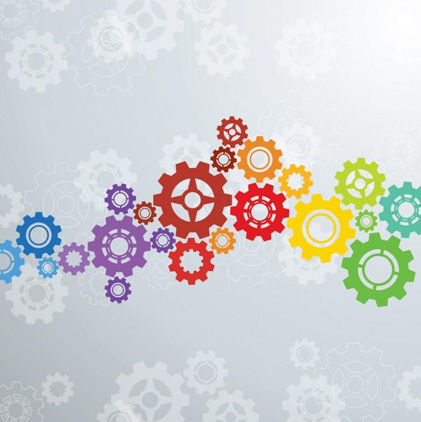 虹色の歯車がカラフルな背景 Colorful gears background