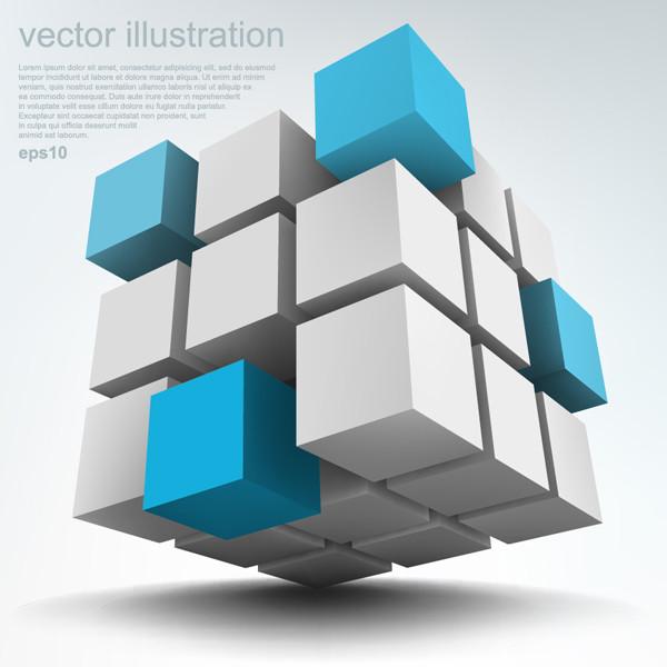 箱型の立方体を重ねた技術系の背景 box cube sculpture technology background