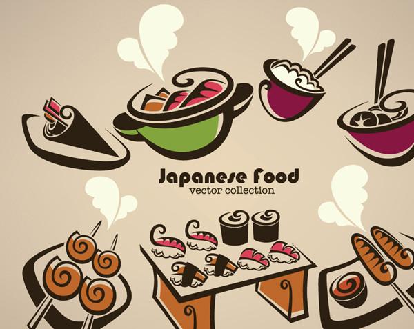 手書きの和食メニュー cartoon handpainted japanese food
