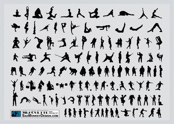 ダイナミックな動きのスポーツ シルエット Sports Silhouettes