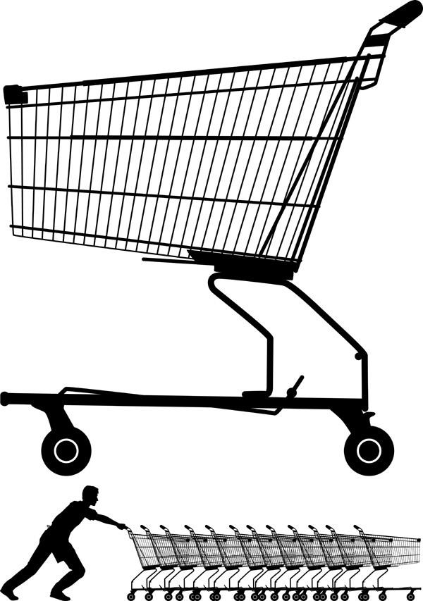 ショッピングカートのクリップアート supermarket shopping cart vector1