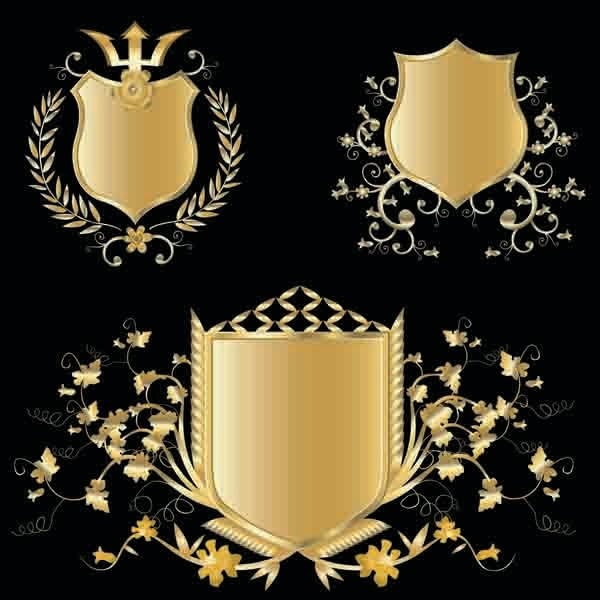 豪華な黄金の盾 several gold shield badge vector1