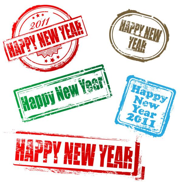 新年の消印スタンプ デザイン new postmarks vector1