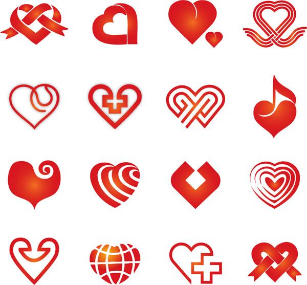 ハート型にデザインしたアイコン icon Collection of Vector Hearts