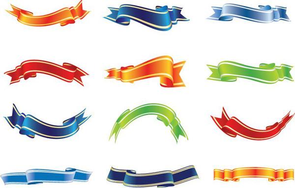 曲線が美しいリボン Set of Colorful Ribbons Vector