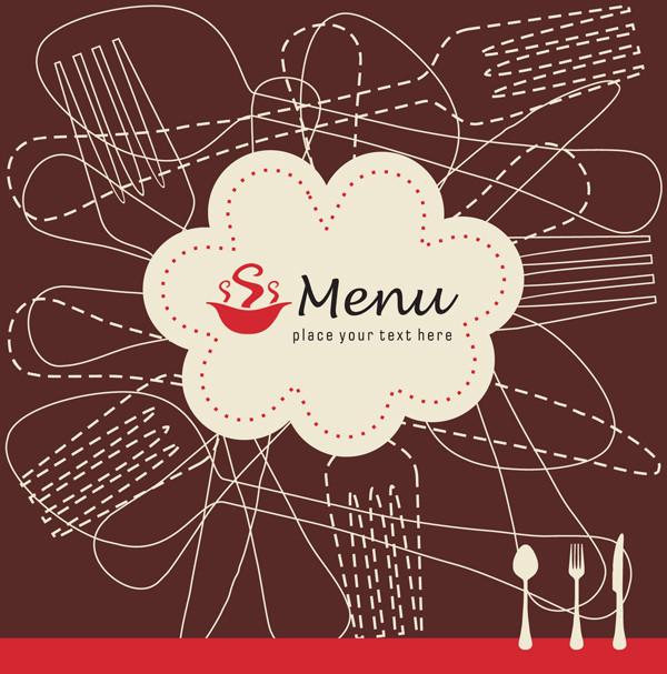 スプーン・フォークのシルエットを描いたメニューの表紙 spoons forks modern silhouette menu cover