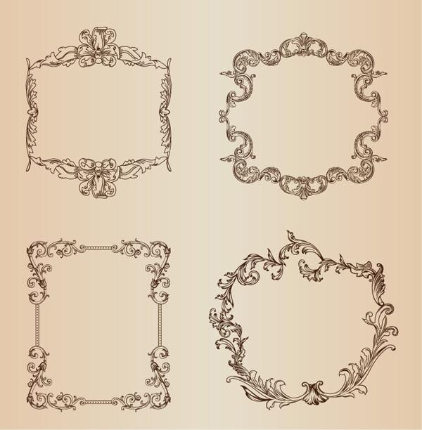 ヴィンテージ スタイルの植物飾りフレーム Vintage Floral Decorative Frame