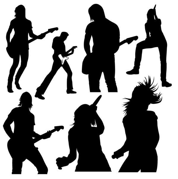 音楽プレーヤーのシルエット music player silhouettes