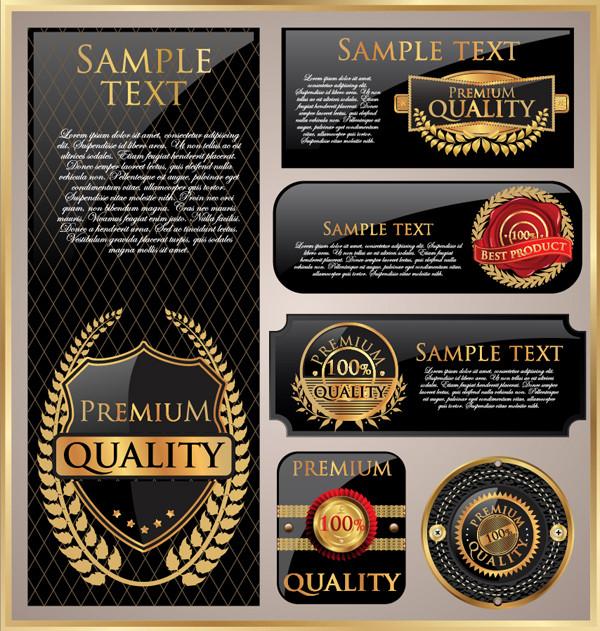 美しい金色のラベル デザイン golden labels stickers design