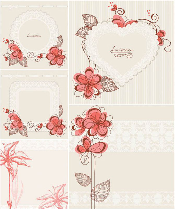花柄の招待状テンプレート Floral invitation card templates, wedding, Valentines day