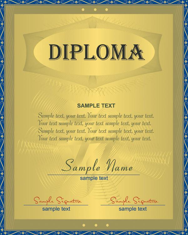 お洒落なデザインの証明書テンプレート vector design certificate3