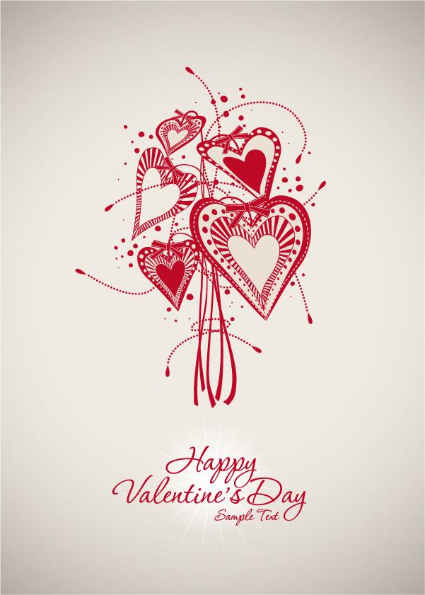 バレンタインデー ハートの背景 Valentine's Day lines heart background