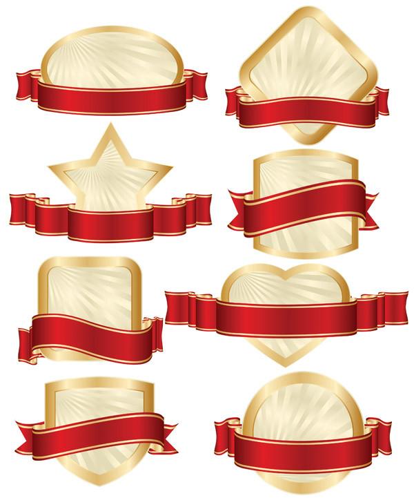金縁の盾に赤いリボン飾りのバナー red ribbon gold-rimmed shield banner1