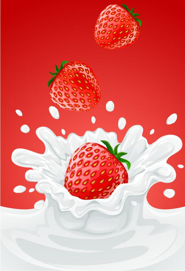 フルーツがミルクに落ちるクリップアート fruit fall moment milk vector4