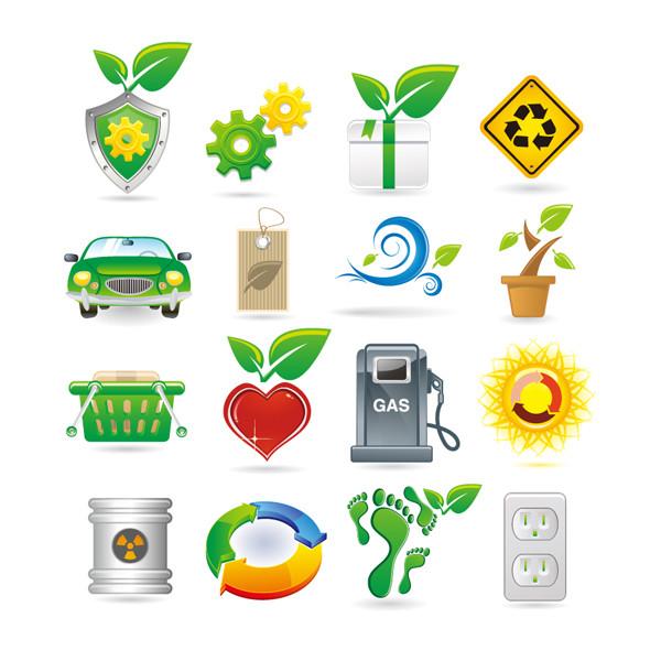 グリーンエネルギーをテーマにしたアイコン Green Theme Vector Icons