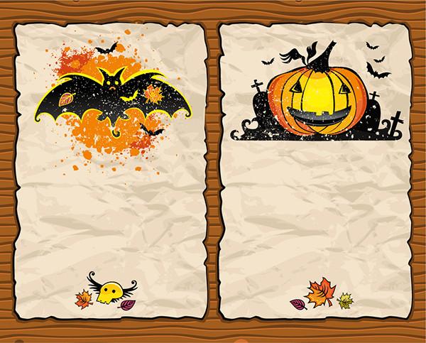 古紙に描いたコウモリとかぼちゃのハロウィン背景 halloween pumpkin bat background