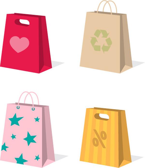 カラフルな紙袋のクリップアート variety of colorful clip art bag4