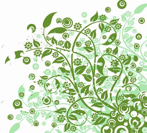 蔓を巻く植物柄の背景 Abstract Green Floral Vector Graphic Art