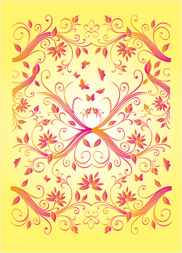 花柄と蝶の背景 flower pattern and butterfly backgrounds