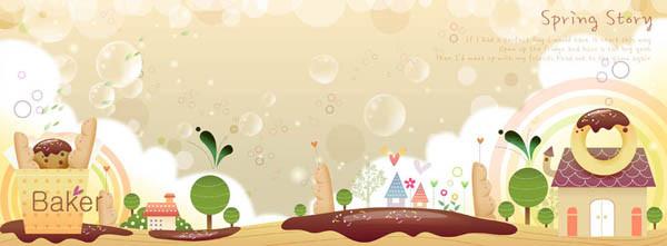 漫画風春の町並み Cute cartoon spring banners