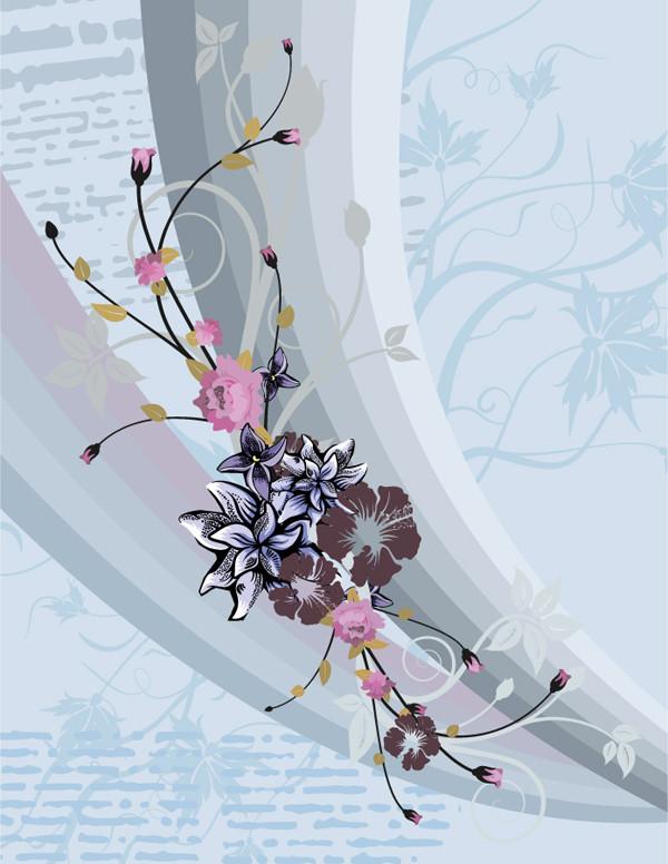 曲線に花ビラを配置した背景 european style pattern