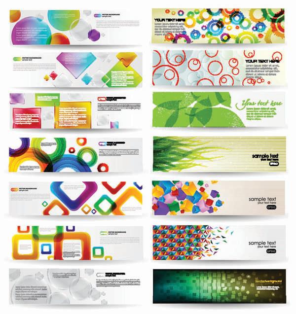 ダイナミックでカラフルなバナー見本 dynamic colorful banner vector