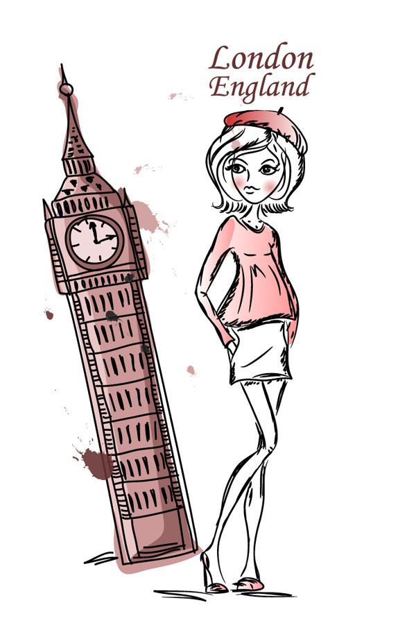 ロンドン ビッグベンを観光する少女の線画 Line art girls London Big Ben
