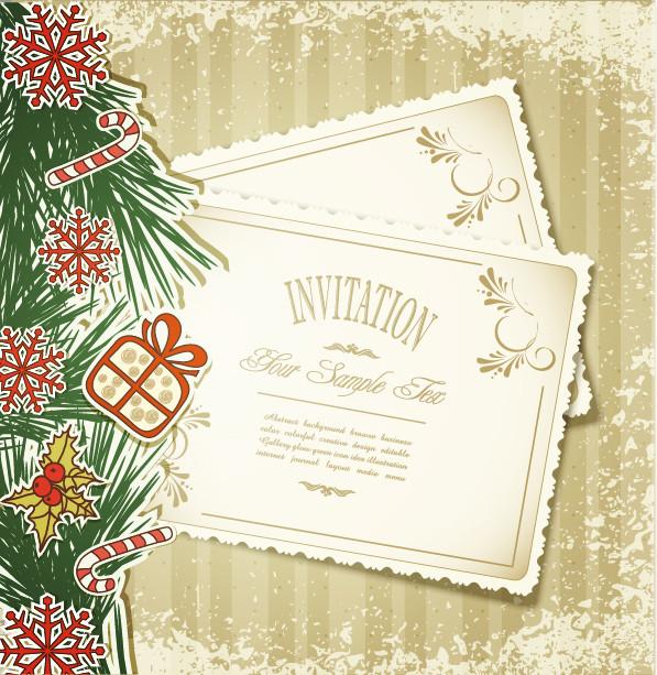クリスマス招待状のラベル christmas label vector
