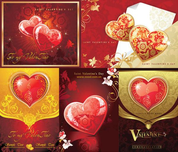 バレンタインデーのハート型装飾素材 Valentines-Day heart-shaped decoration materials