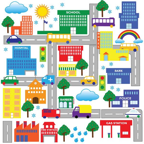街並みを描くクリップアート Cartoon Construction Icon Vector Free