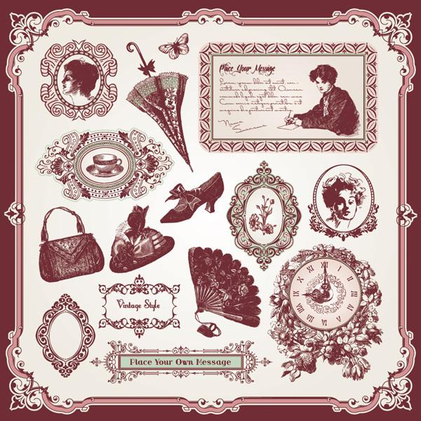 古風な飾付けが美しいクリップアート exquisite european style decoration pattern