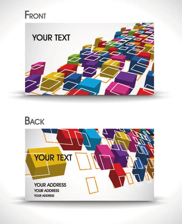 カラフルな立方体を並べたカード背景 dynamic gorgeous card background