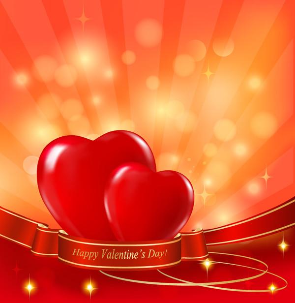 輝くハートとリボンのバレンタインデー背景 exquisite valentine background