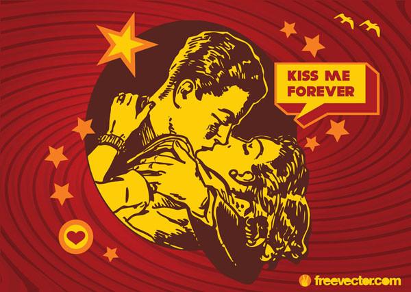 古風なバレンタインデー キッス valentine kiss retro design