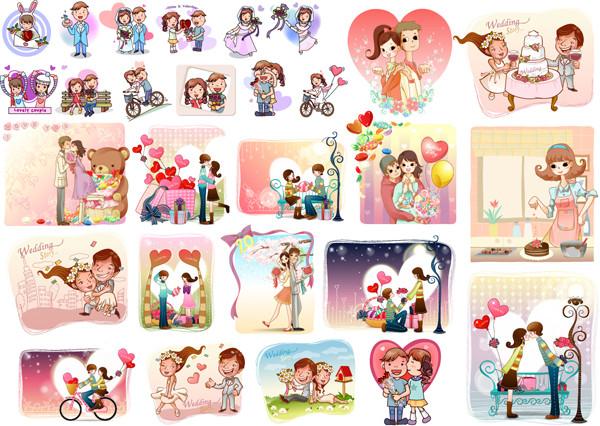愛をテーマにしたカップルのクリップアート cartoons lovers wedding couple