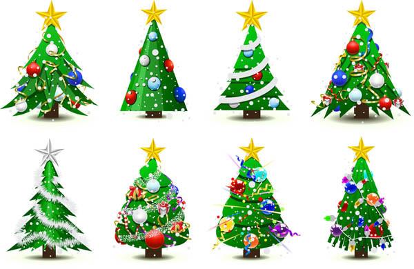 飾り付けたクリスマスツリー見本 gorgeous christmas tree vector