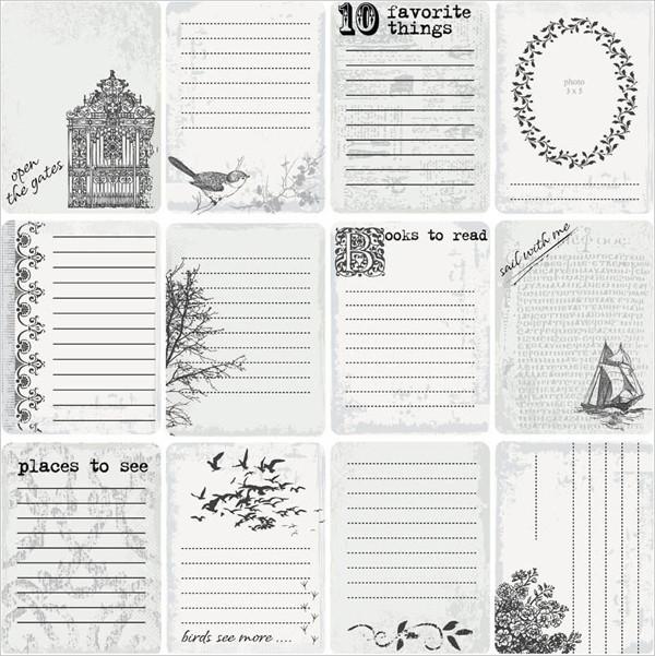 古く汚れた雰囲気のリスト見本 aged grunge cards and lists of paper in vintage style