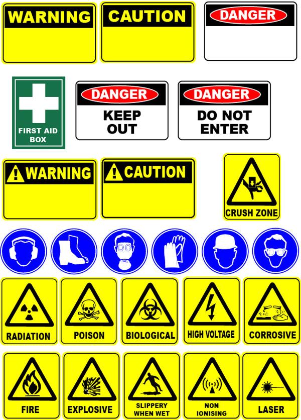 安全標識のデザイン見本 Safety Signs clip art