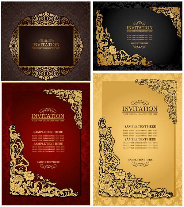 古典的で華やかな結婚式の招待状テンプレート classic ornate wedding invitation templates