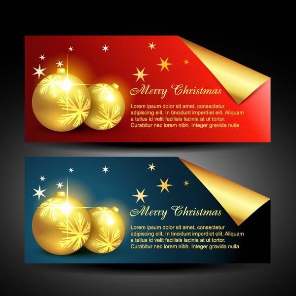 美しく輝くクリスマス バナー beautiful christmas banner vector4