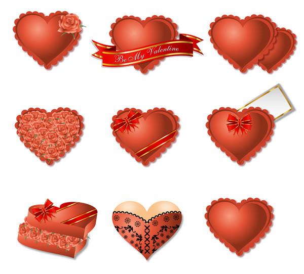 お洒落なハート型のギフト パッケージ romantic heart-shaped gift box packaging vector