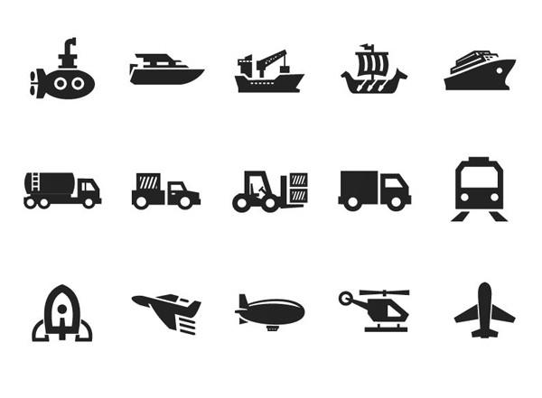 乗り物のシルエット アイコン Transportation Icon Set on Gray eps · Icon · アイコン · シルエット · 乗り物 · Transportation · Gray