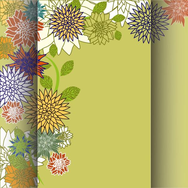 屏風のように花ビラを重ねた背景 Retro floral background vector