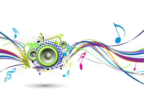 虹色の曲線と音符の背景 Rainbow Wave with Music Node Background