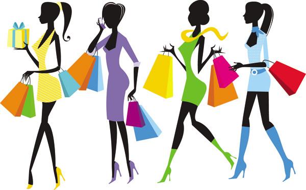 お洒落に買い物を楽しむ女性のシルエット fashion shopping girl vector5