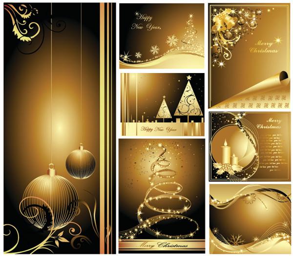 絢爛豪華な黄金のクリスマス飾りの背景 beautiful gold christmas cards