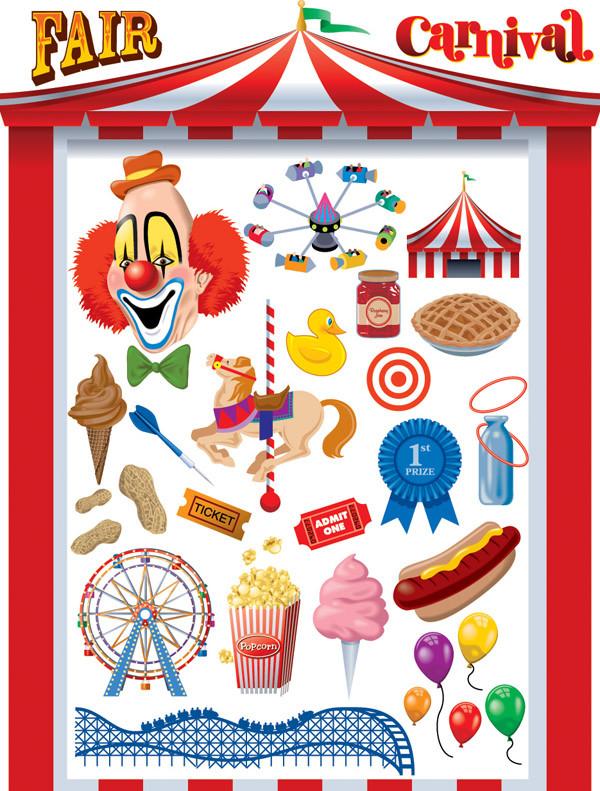 カーニバル フェアのピエロ Clown carnival fair
