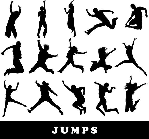 ジャンプする人のシルエット Silhouettes People Jumping